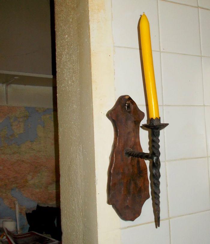 Bougeoir porte bougie en bois et fer forgé ancien 35 Monflanquin (47)