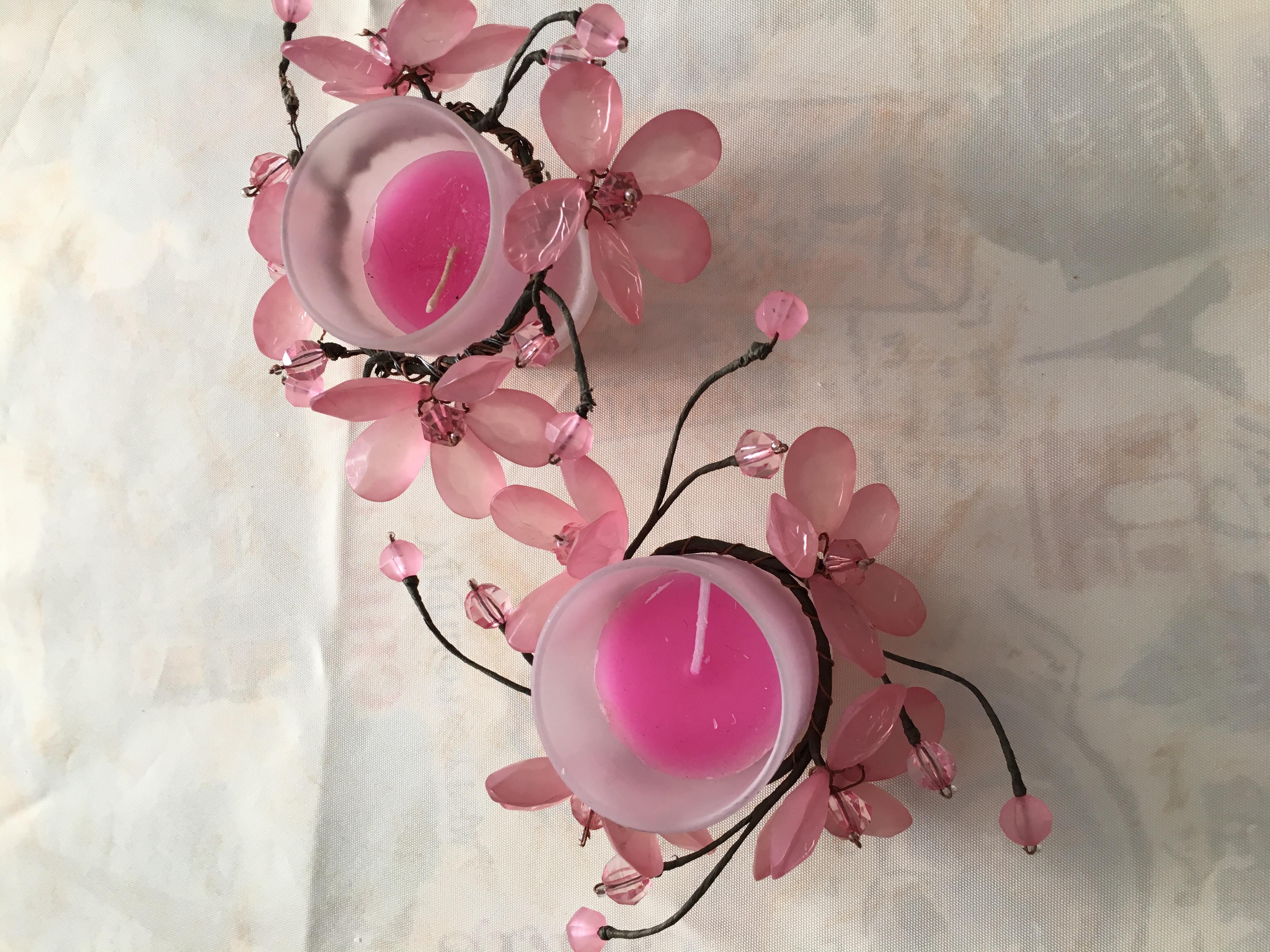 lot de bougeoires roses 2 Nancy (54)