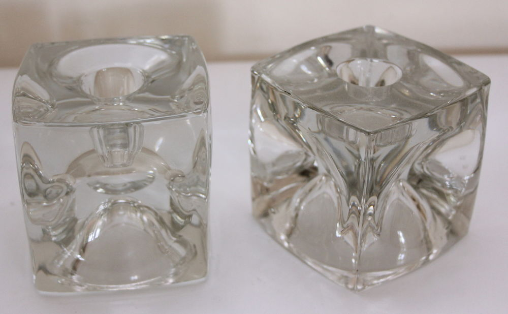 Bougeoirs cube verre ou cristal vintage 70 50 Issy-les-Moulineaux (92)