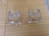 2 Bougeoirs en verre et un en aluminiums  10 Bossey (74)