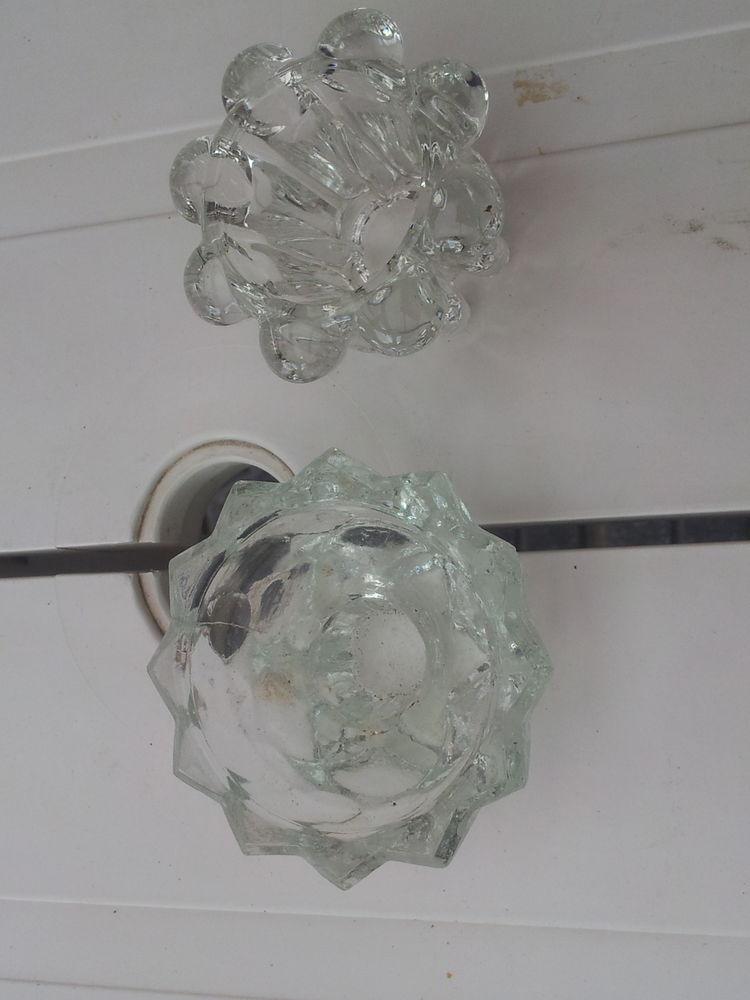 2 bougeoirs en verre transparent pas un éclat 0 Mérignies (59)