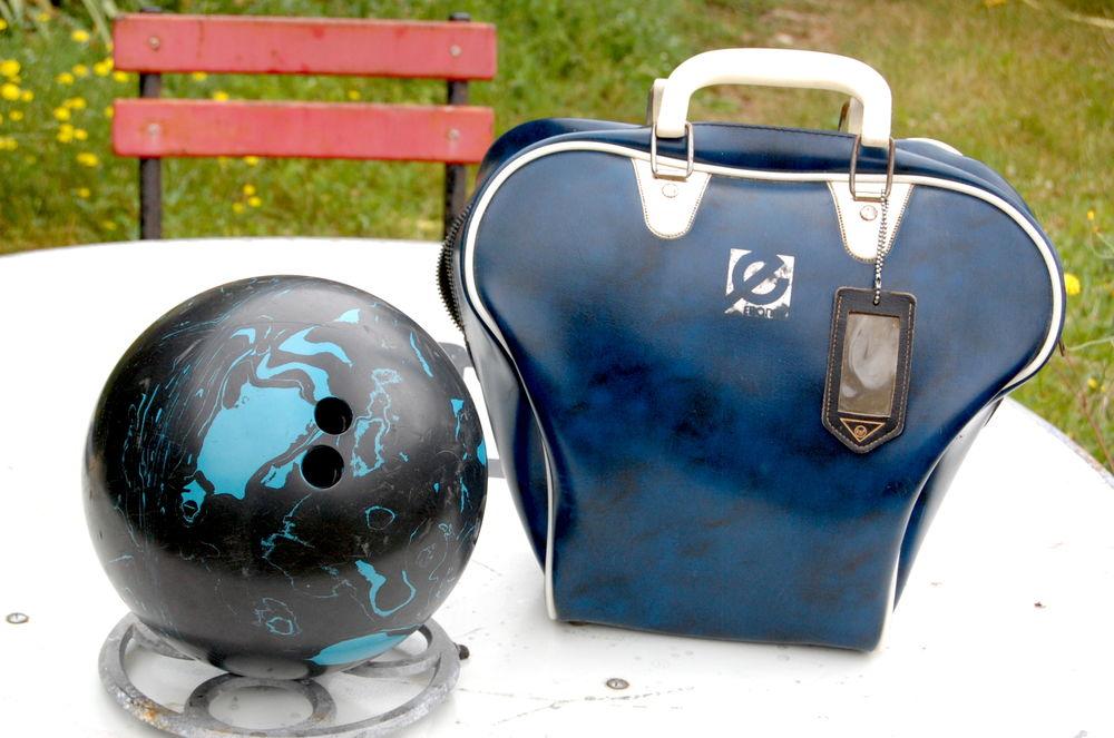 sac et boule de bowling des années 50 60 bien vintage!