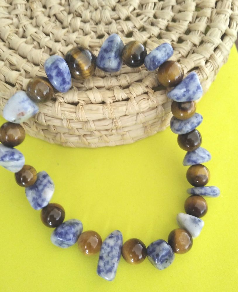 bracelet 19cm  oeil de tigre naturel 8mm et jaspe blue spot 6 Noyelles-Godault (62)