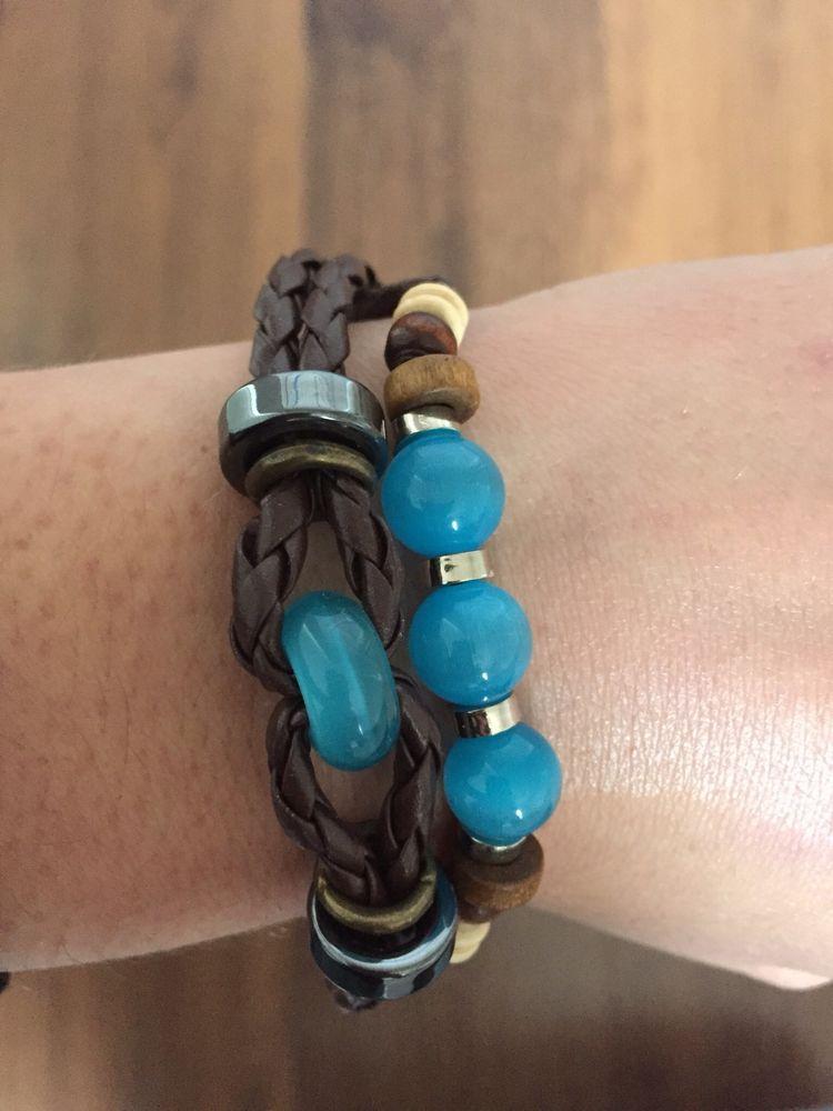 bracelet coulissant avec cordon turquoise  5 Chênex (74)