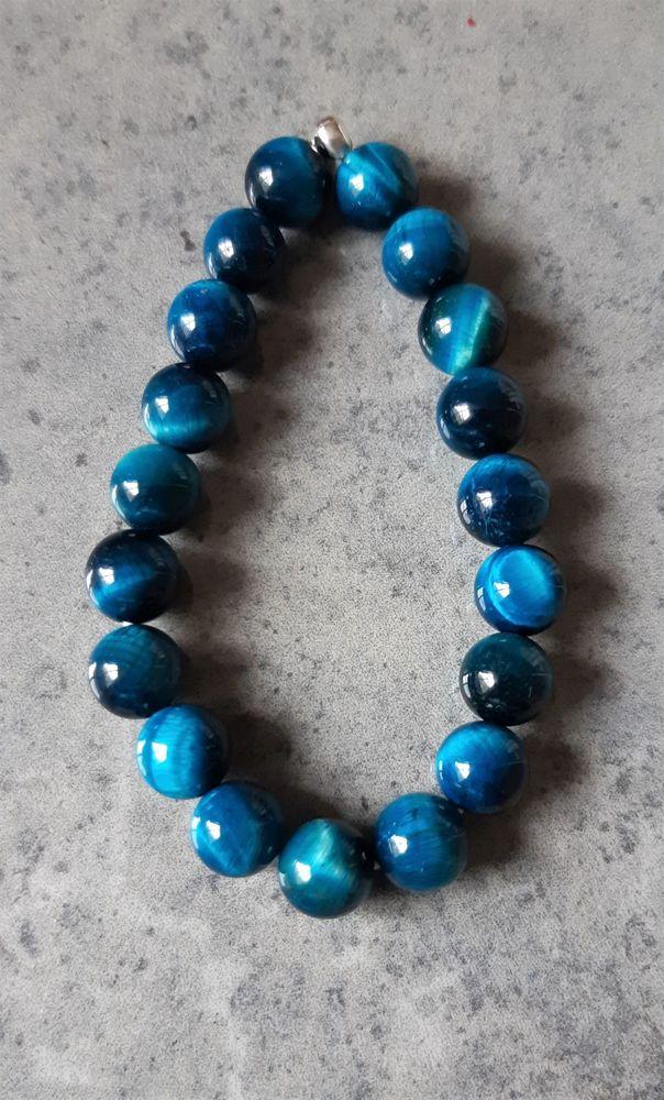 bracelet double élastique avec pierre oeil de chat bleu,  25 La Seyne-sur-Mer (83)
