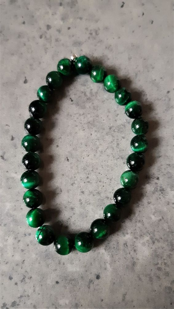 bracelet double élastique avec pierre oeil  de chat Vert 25 La Seyne-sur-Mer (83)