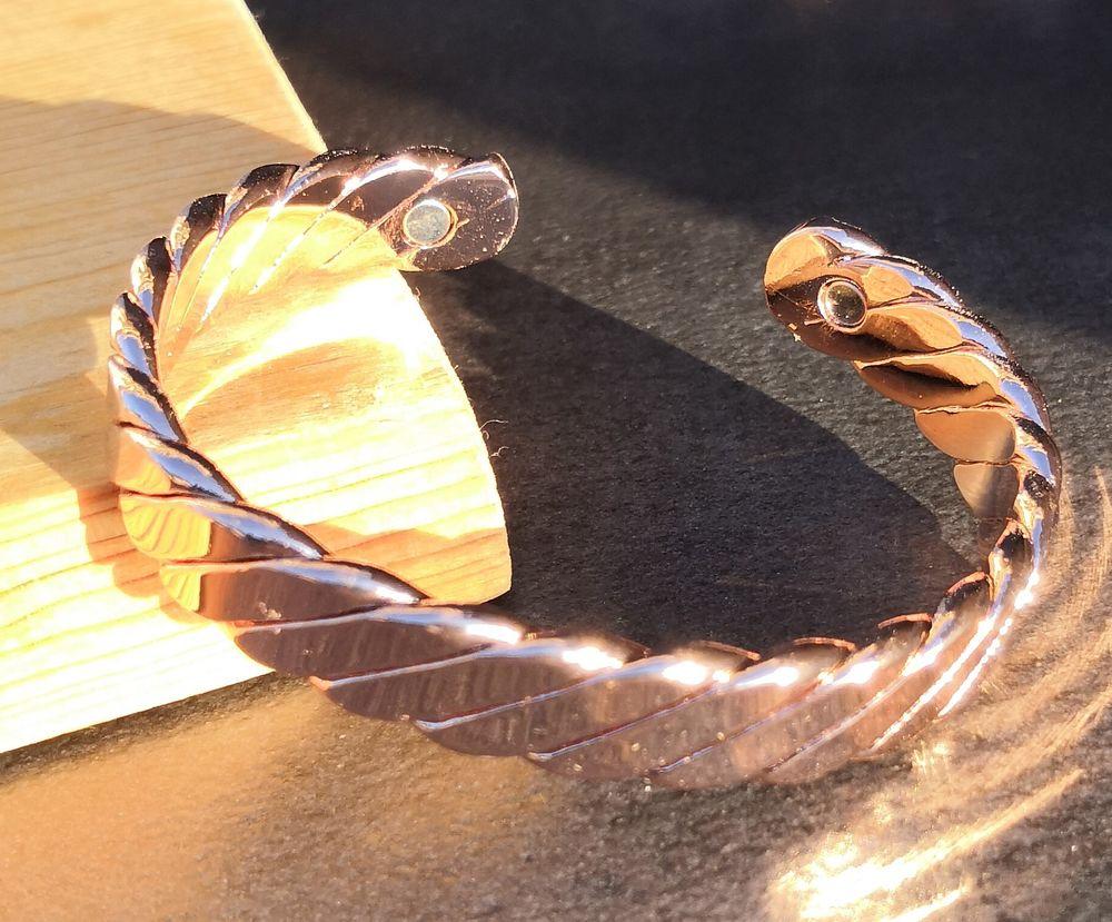 Bracelet jonc en cuivre torsadé magnétique 19 La Seyne-sur-Mer (83)