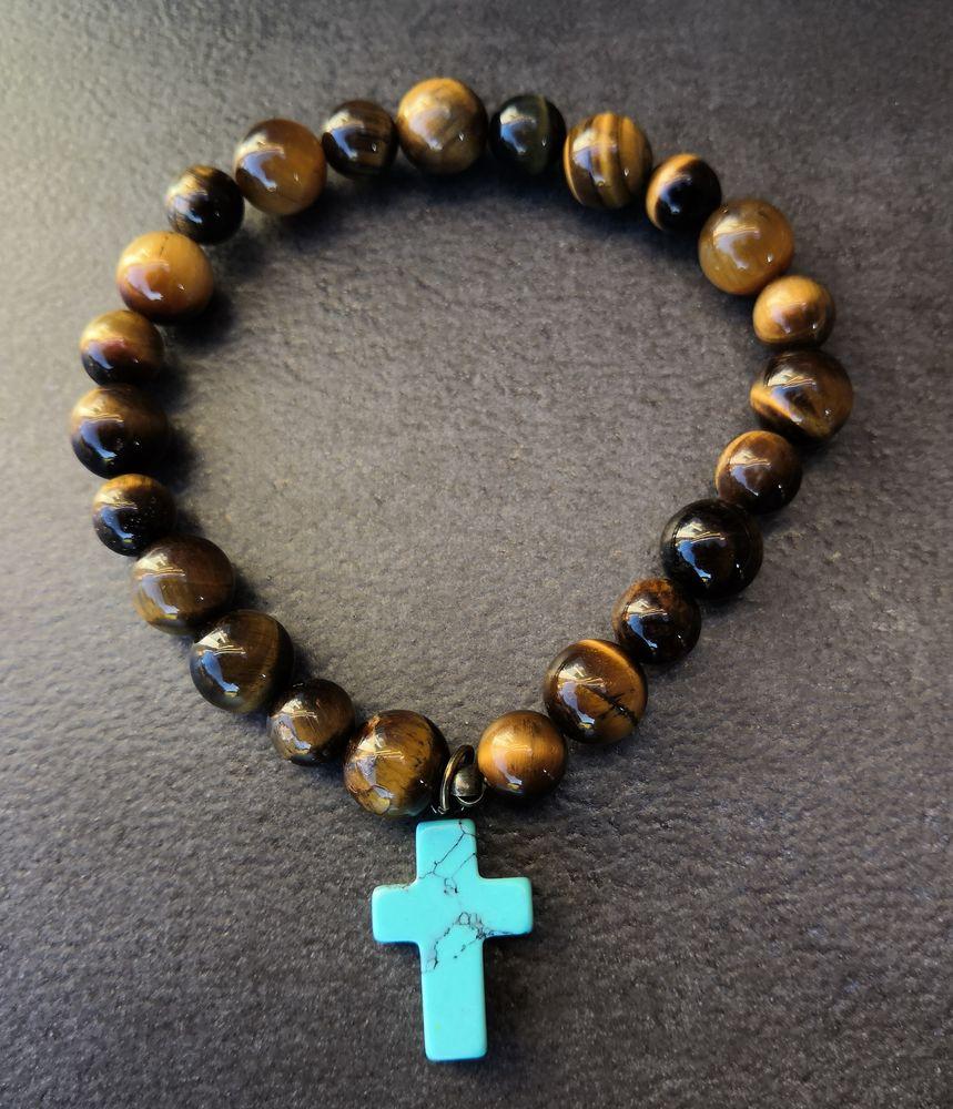 Bracelet de perles Oeil de Tigre avec une croix en Turquoise 25 La Seyne-sur-Mer (83)