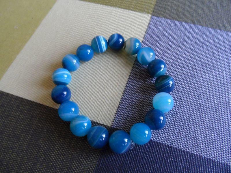Bracelet pierre Agate Bleue 10 Yssingeaux (43)