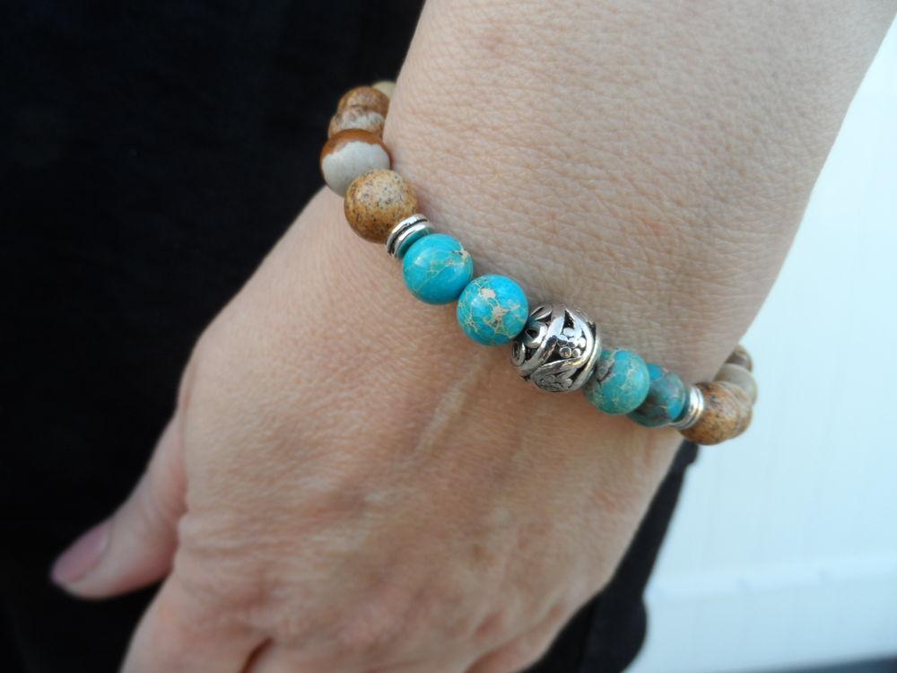 Bracelet pierre Jaspe et pierre Jaspe sédiment bleu 11 Yssingeaux (43)