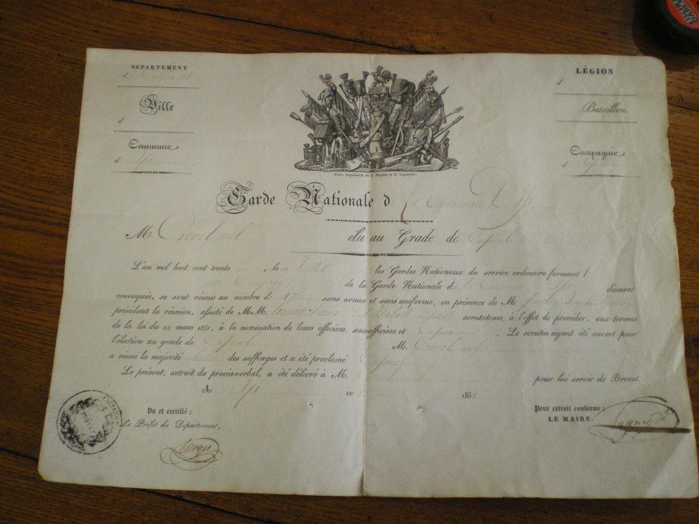 Brevet de la Garde Nationale de la commune de IFS. 50 Caen (14)