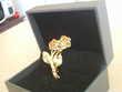 Broche ancienne bouquet de roses dorée or fin N° 733
