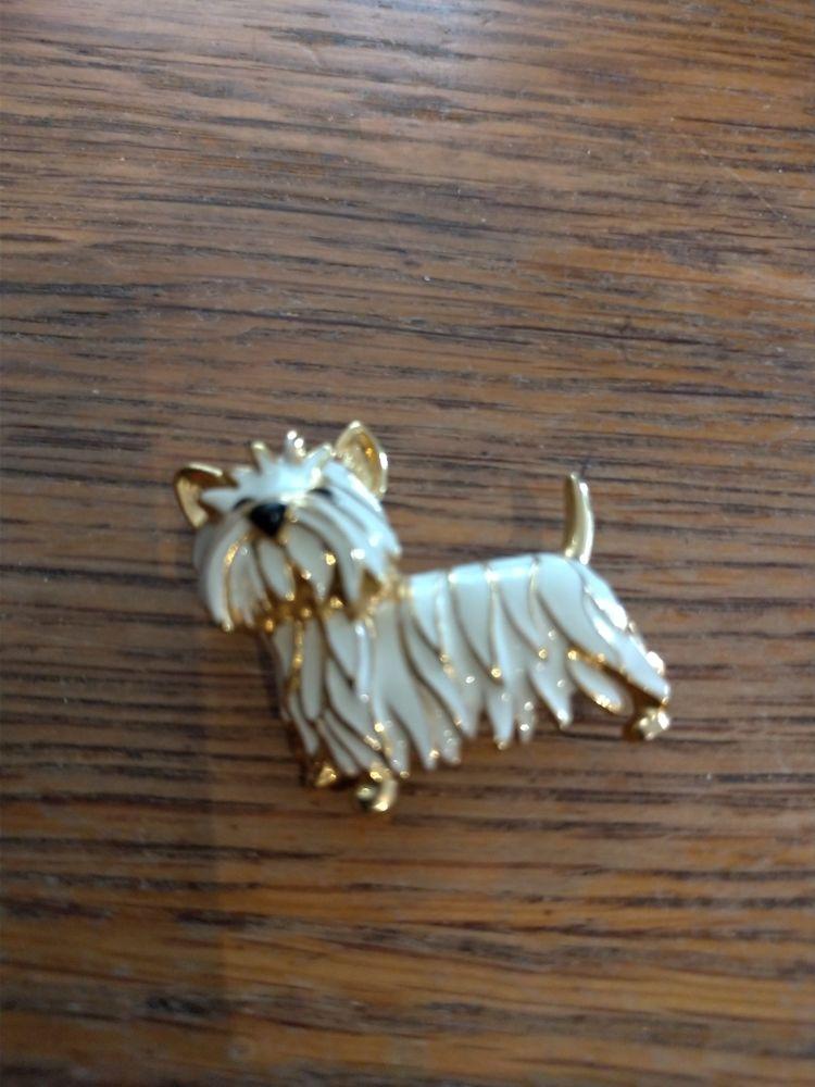 Broche dorée chien laqué blanc 10 Épinay-sur-Orge (91)