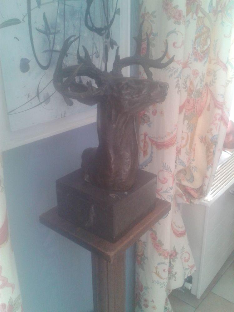 bronze animalier tète de cerf Décoration