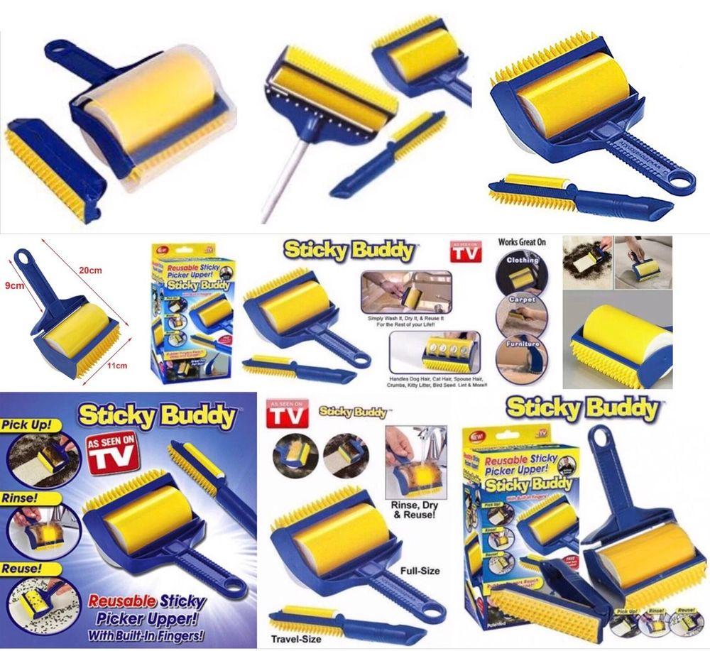 Brosse Rouleau Adhésive Collant Lavable Réutilisable 2 en 1 le Kit Pro, Sticky Buddy Electroménager