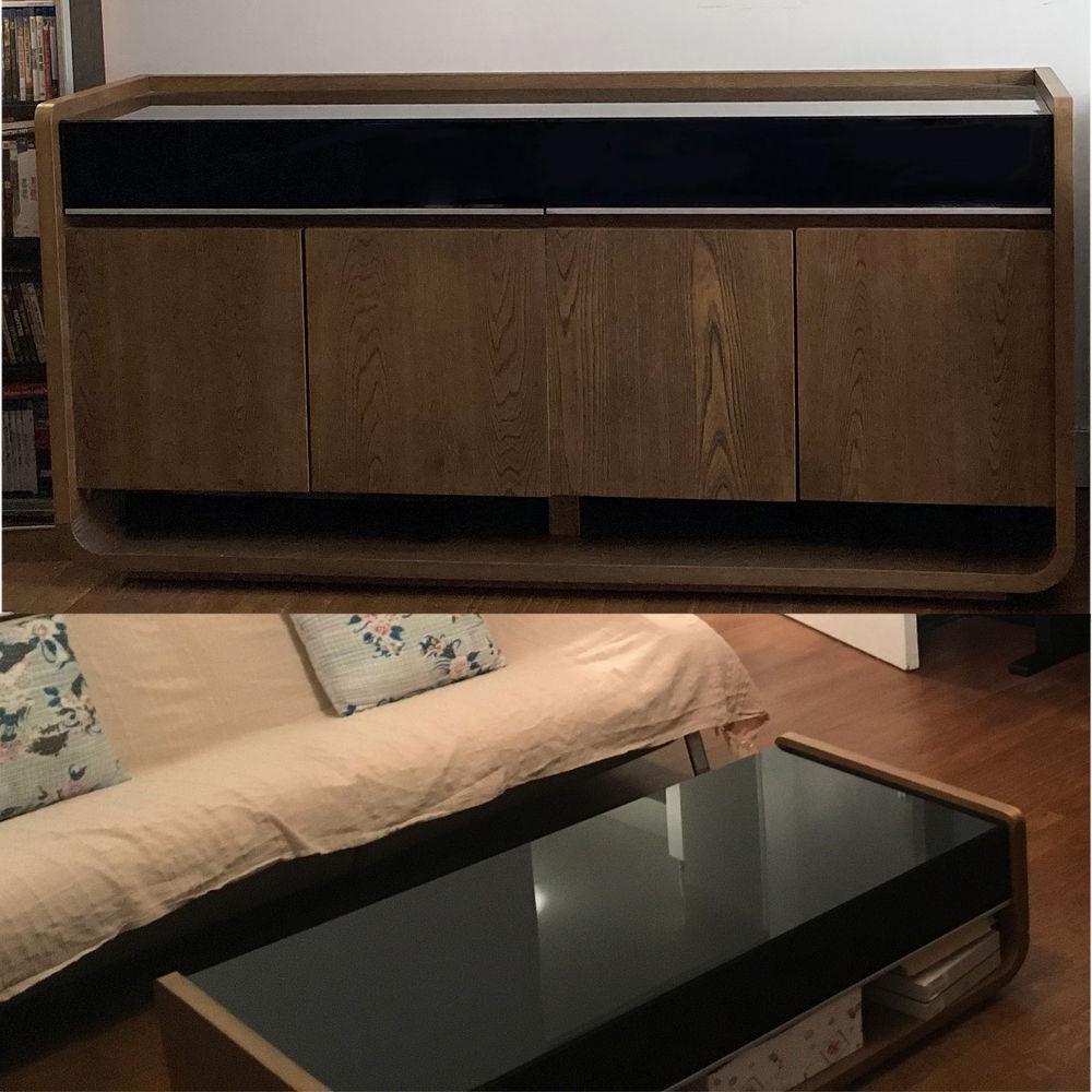 Buffet 160 cm ET table basse 120 cm bois et verre 445 Paris 8 (75)