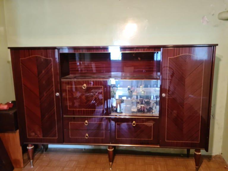 Buffet vintage acajou laque + tables et chaises Meubles