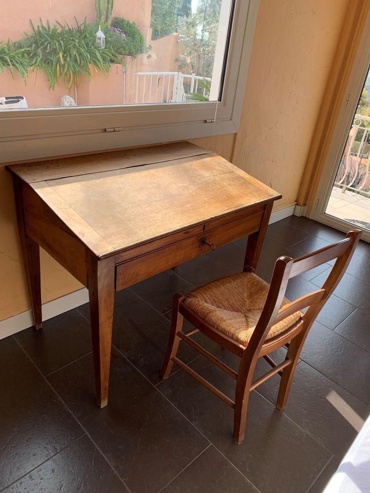 Bureau ancien bois massif et chaise 140 Menton (06)
