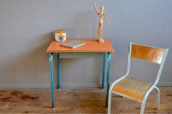 Bureau et chaise enfant, pupitre vintage rétro école écolier 95 Wintzenheim (68)