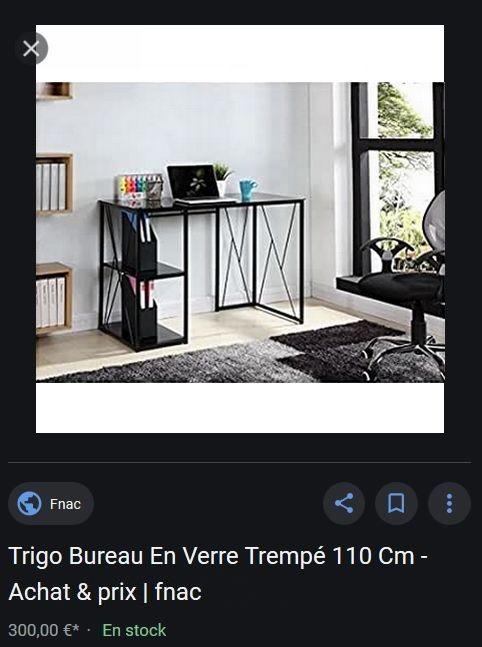 Bureau design métal et verre trempé noir 2 étagères val 300€ 250 Gradignan (33)