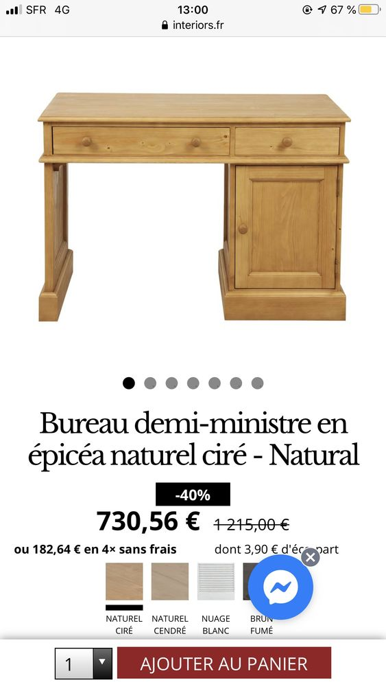 Bureau en épicéa naturel ciré 150 Neuilly-sur-Seine (92)