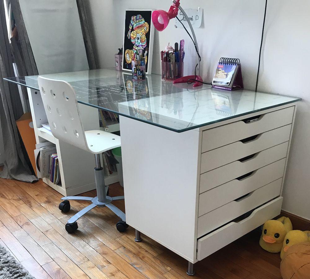 Bureau IKEA plateau verre et meubles rangements Blancs 160 Cannes (06)