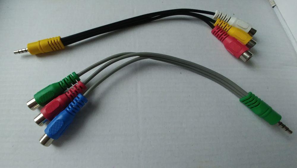 Câbles x2 Audio vidéo 3,5 mm mâle vers 3 RCA femelle 3 Saint-Pol-sur-Mer (59)
