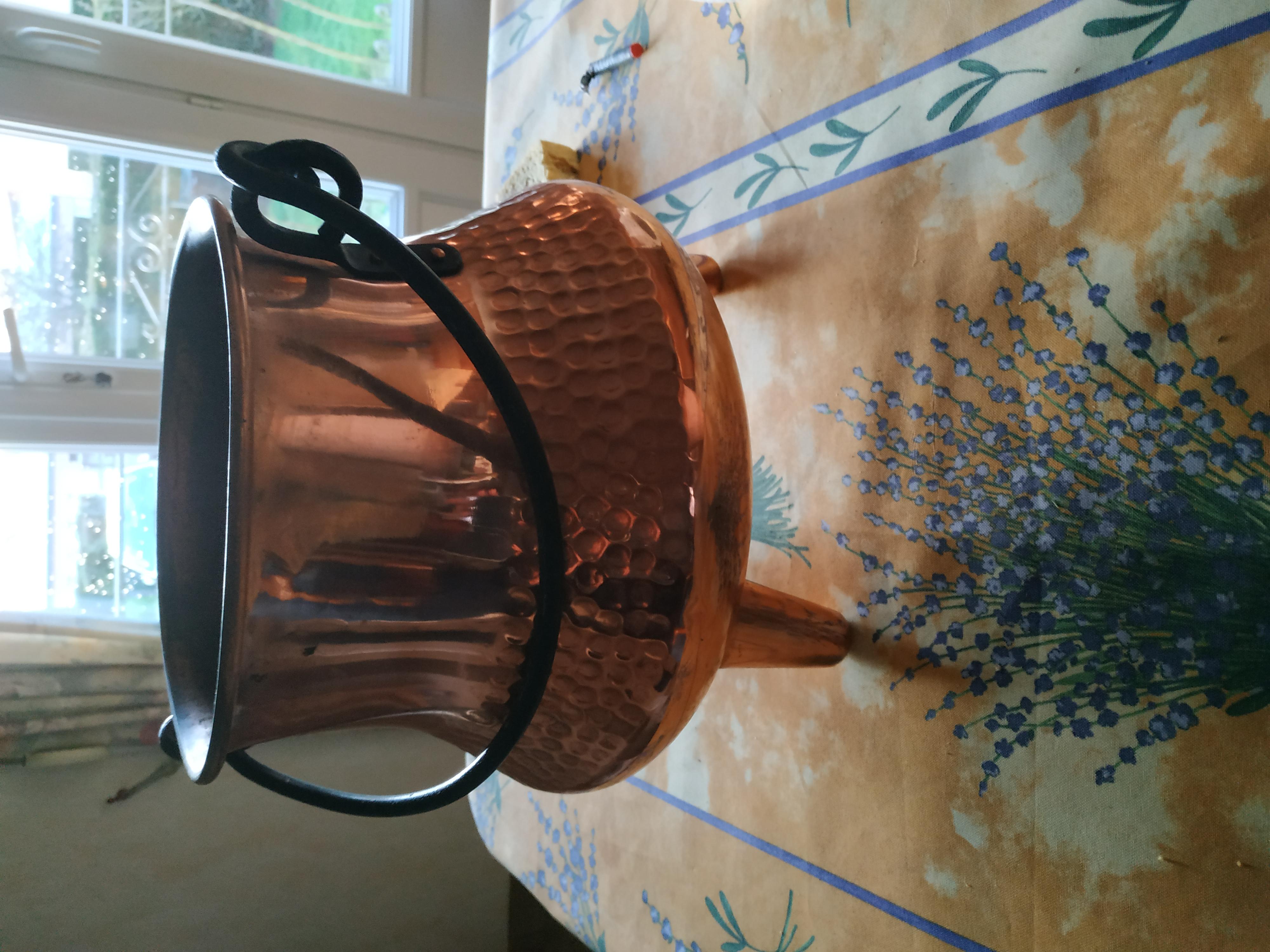 Cache pot forme chaudron cuivre et fer forgé 10 Hérouville-Saint-Clair (14)