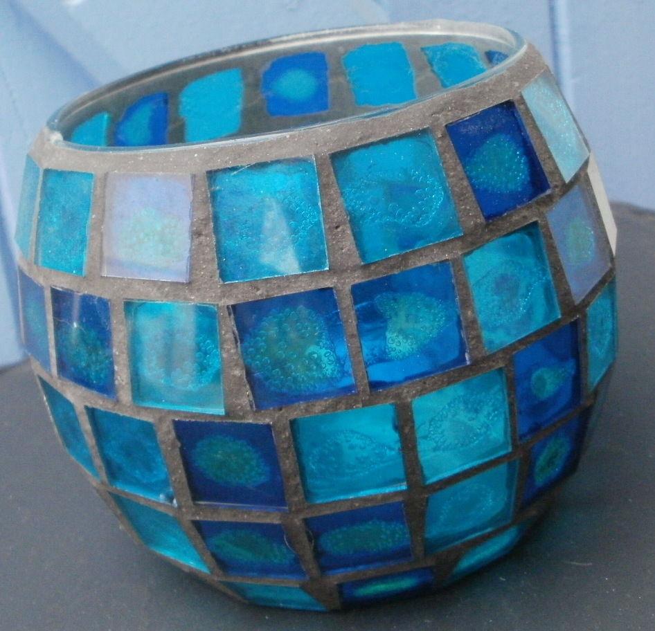 POT/ CACHE-POT/ VIDE POCHE  à facettes aspect vitrail , bleu 10 Montauban (82)