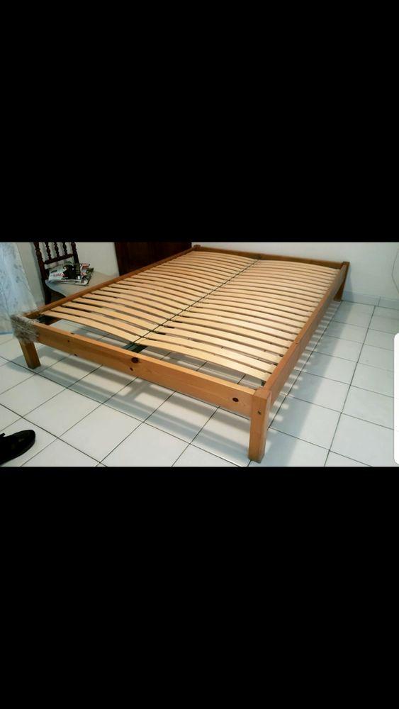 Cadre de lit bois massif + sommier à lattes Ikea 80 Martigues (13)