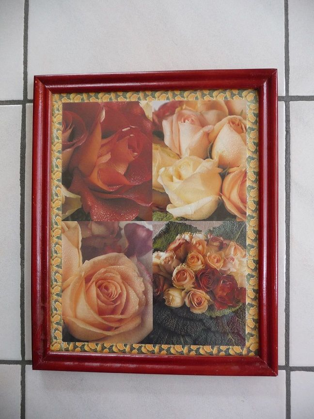 Cadre bordeaux avec photos de roses 10 Montigny-le-Bretonneux (78)