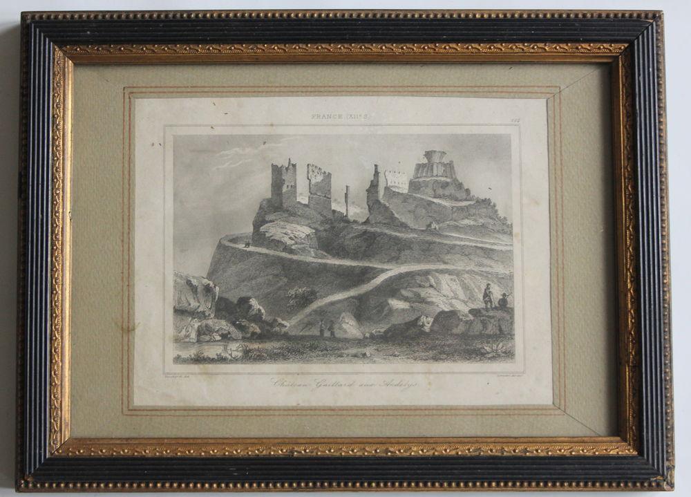 Cadre gravure XIX les Andelys Chateau Gaillard 30 Vanves (92)