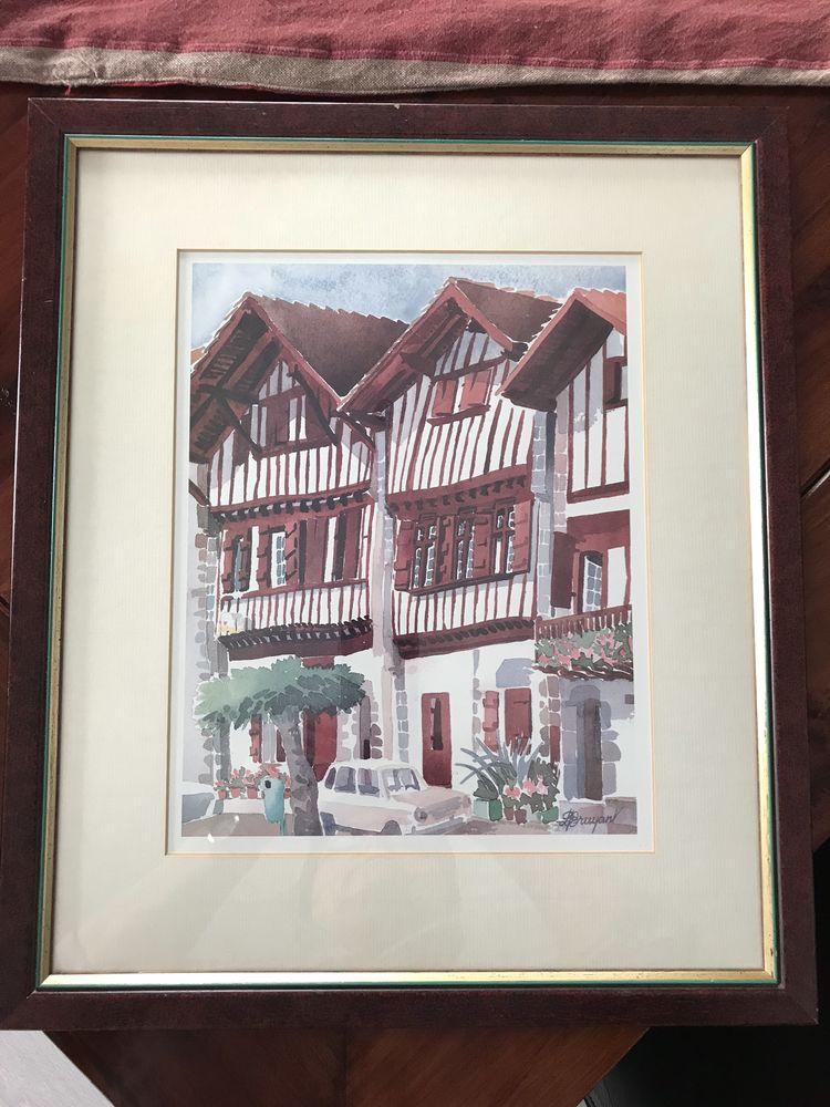Cadre représentation maisons basques  Bon état  12 Bayonne (64)