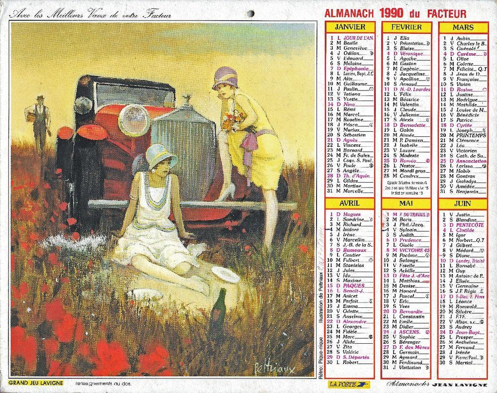Calendrier de La Poste 1990 3 Castelnau-sur-Gupie (47)