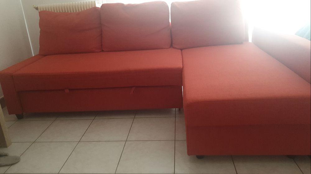 Canape d'angle convertible orange 3/4 places 350 Melun (77)