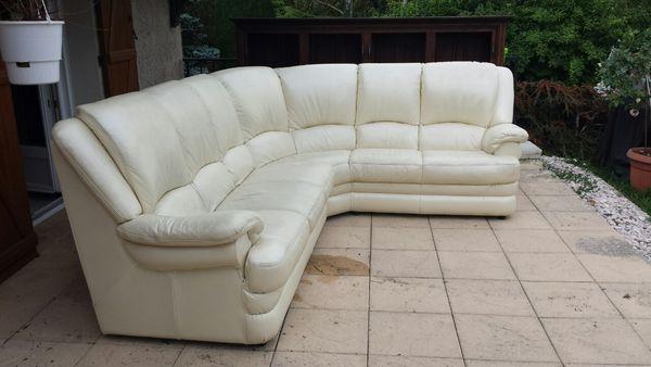 Canapé d'angle Cuir blanc 5/6 places 500 Talant (21)