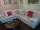 Canapé d'angle en cuir blanc 550 Auflance (08)