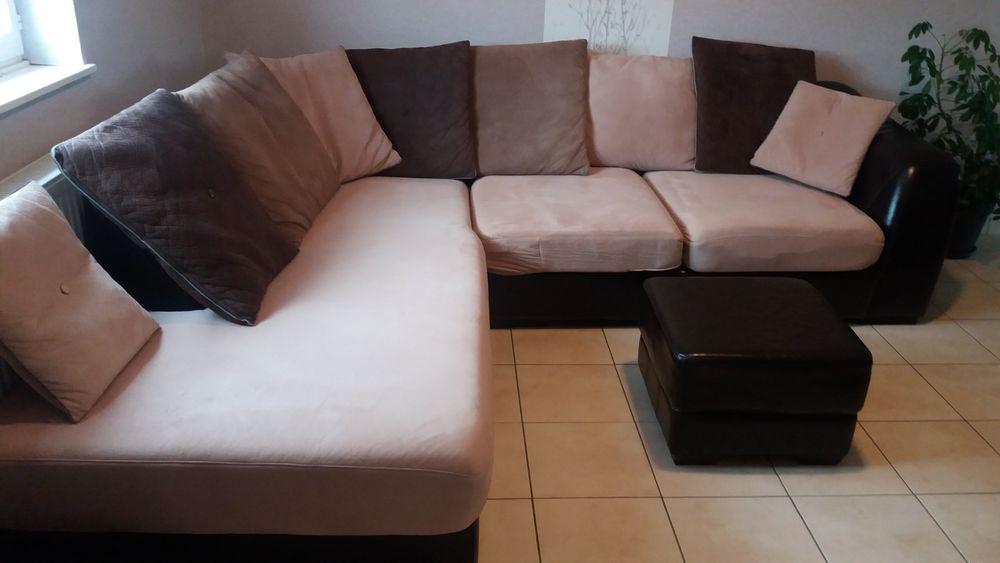Canapé d'angle cuir et tweed + pouf 400 Saint-Pol-sur-Ternoise (62)