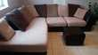 Canapé d'angle cuir et tweed + pouf Meubles