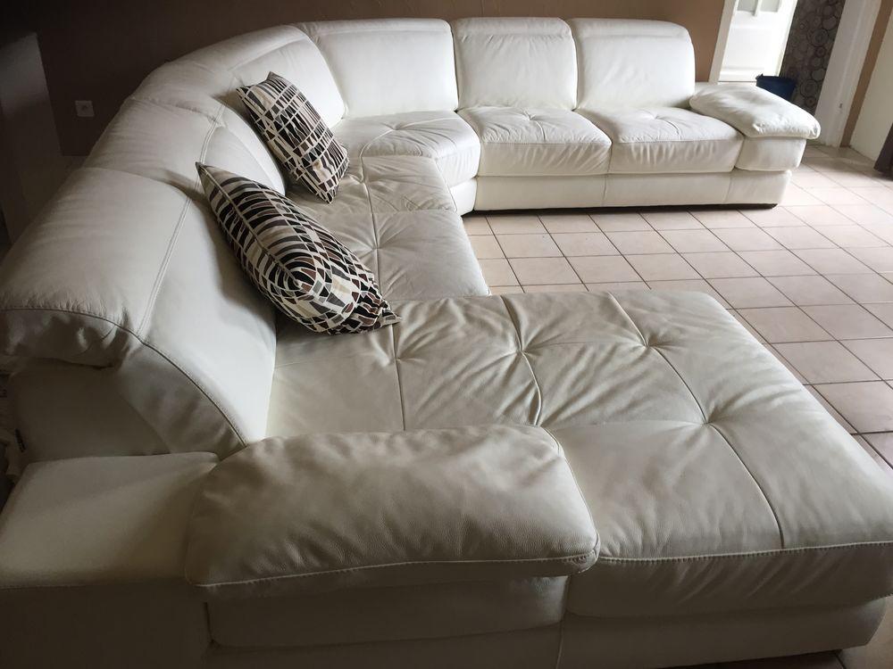 Canapé d'angle en cuir blanc Meubles
