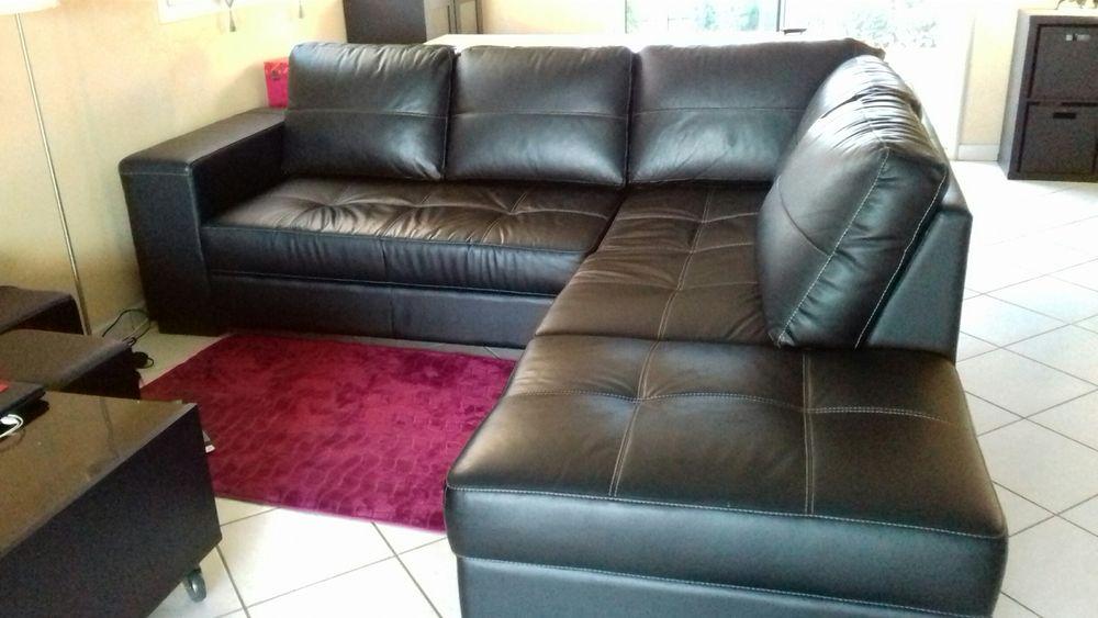 Canapé d' angle cuir noir