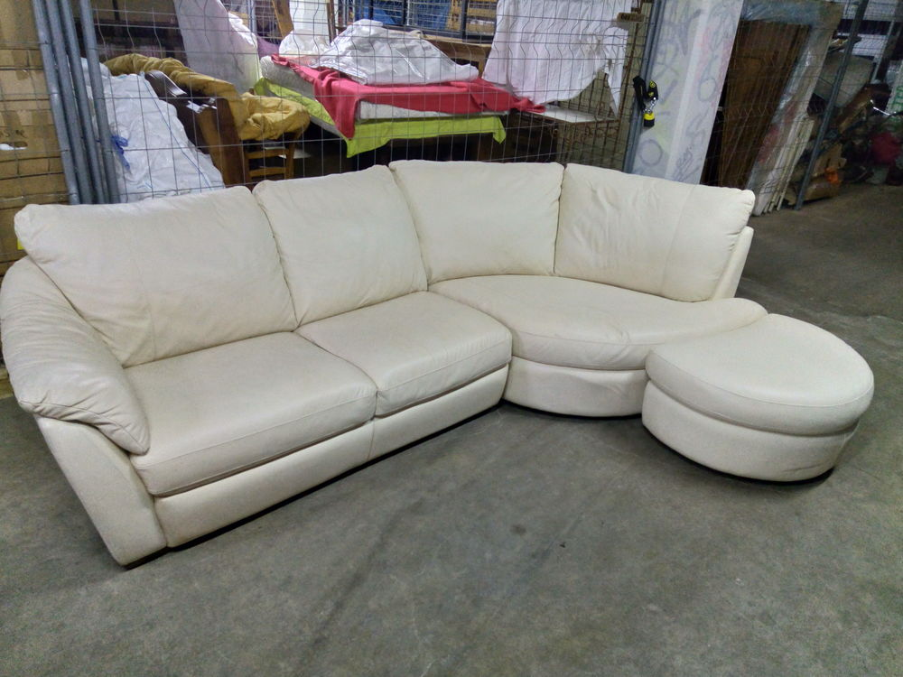 Canapé d'angle en cuir blanc 400 Valence (26)