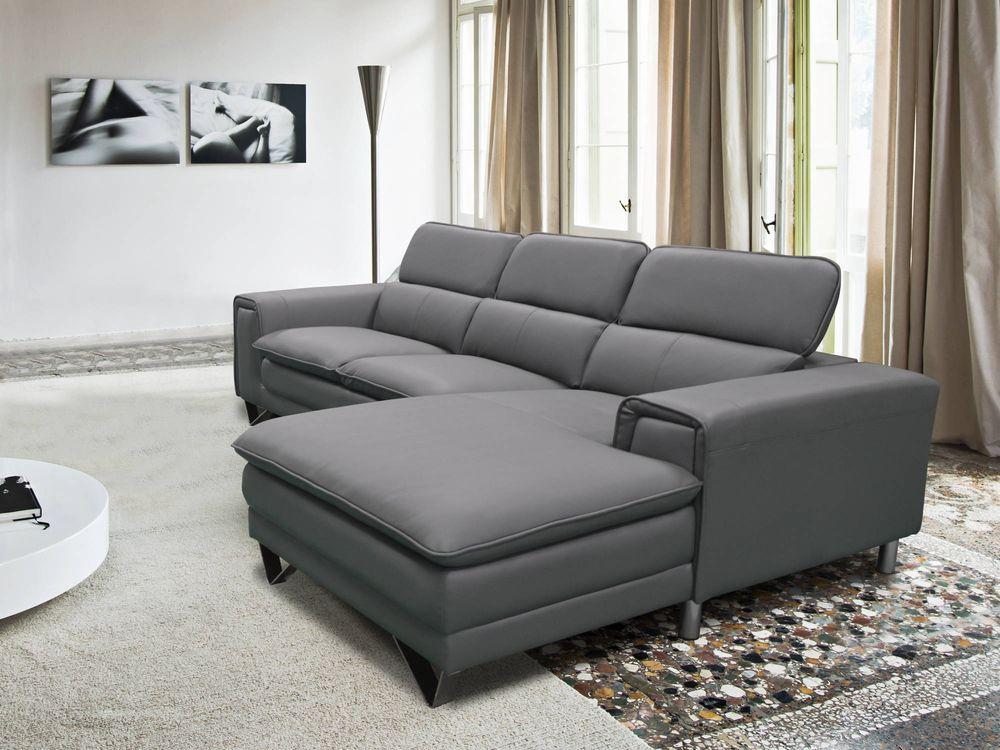 canapé d'angle cuir gris italien  700 Romainville (93)