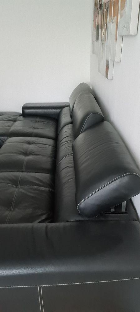 Canapé d'angle cuir noir tbe 990 Toulon (83)