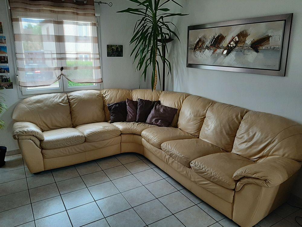 Canapé d'angle en cuir beige 7-8 places 200 Kertzfeld (67)