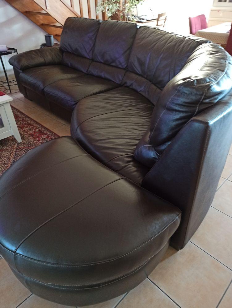 Canapé d'angle cuir 4/5 places marron foncé 190 Biscarrosse (40)