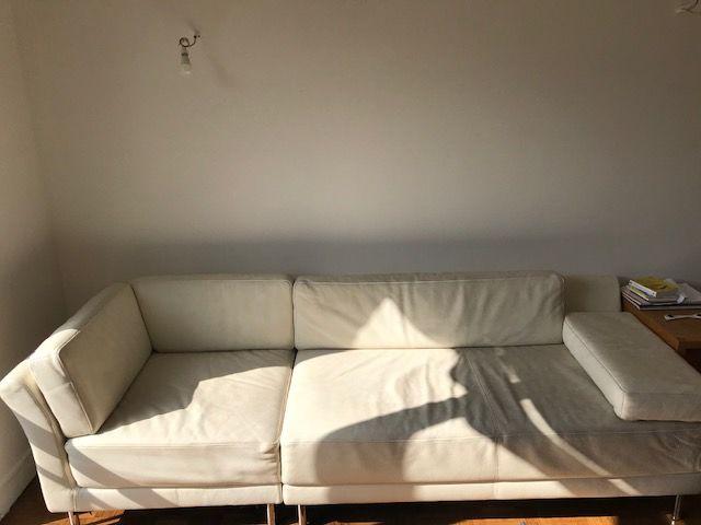 Canapé d'angle (gauche), Habitat, cuir blanc 200 Boulogne-Billancourt (92)