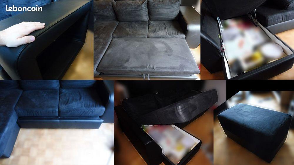 canapé d'angle gauche noir tissu/similicuir 300 Maisons-Alfort (94)
