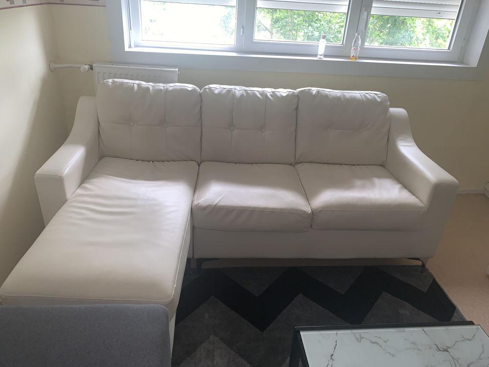 Canapé d'angle gauche blanc en simili cuir  200 Melun (77)