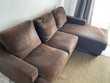 Canapé d'angle marron chocolat en suédine 3 places Meubles